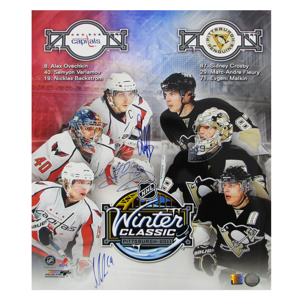 ALEXANDER OVECHKIN, NICKLAS BACKSTROM, & SEMYON VARLAMOV Signed 2011 Winter Classic 16 X 20 Photo - 79007