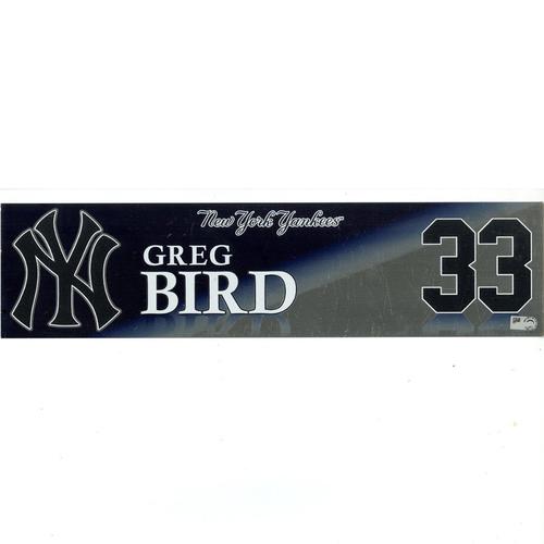 Photo of Greg Bird New York Yankees 2017 Game-Used #33 Locker Room Nameplate (9/26/2017)