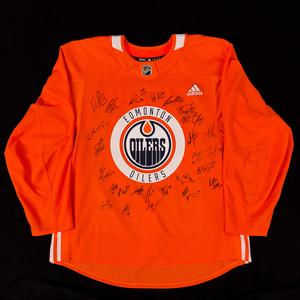 2018-19 Edmonton Oilers Team-Signed Orange Adidas Used Practice Jersey2018-19  Edmonton Oilers Team-Signed Orange Adidas Used Practice Jersey c6237f38f