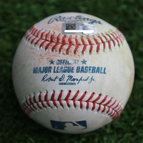 Photo of Game-Used Baseball: Dee Gordon 990th Career Hit and Domingo Santana 321st Career Hit (SEA @ KC - 4/9/19)