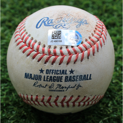 Photo of Game-Used Baseball: Logan Forsythe 719th Career Hit and 286th Career RBI (TEX @ KC - 5/16/19)