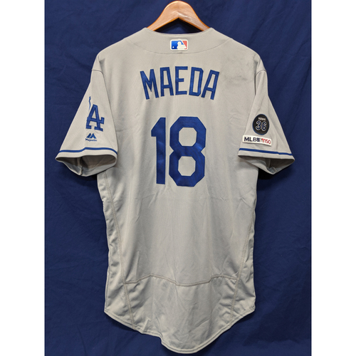 Photo of Los Angeles Dodgers Kenta Maeda Game-Used Road Jersey - 5/26/19 - 6th Win of 2019