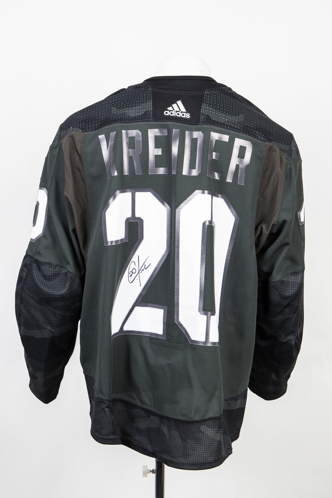 Veterans Night warm up jersey worn and signed by #20 Chris Kreider