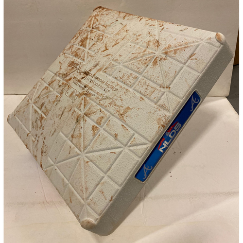Photo of 2018 NLDS Game Used Base - First Base Used During 1st Inning - 10/7/18