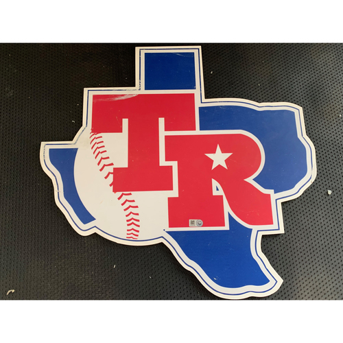 Photo of Texas Rangers Vintage 1982 Logo Sign Displayed in Tunnel Leading From Home Clubhouse to Home Dugout at Globe Life Park