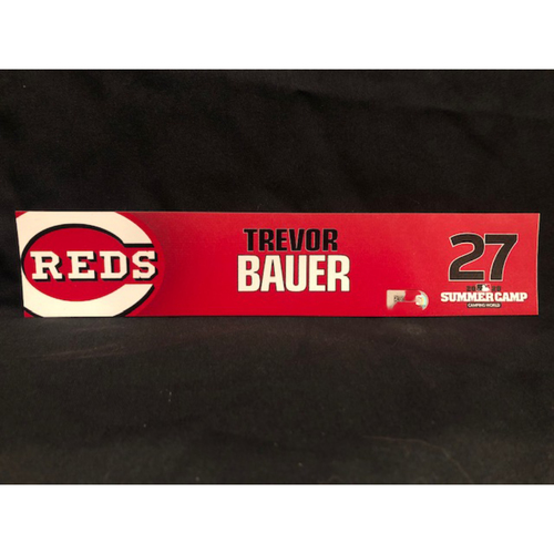 Photo of Trevor Bauer -- 2020 Sumer Camp Locker Tag -- Team-Issued