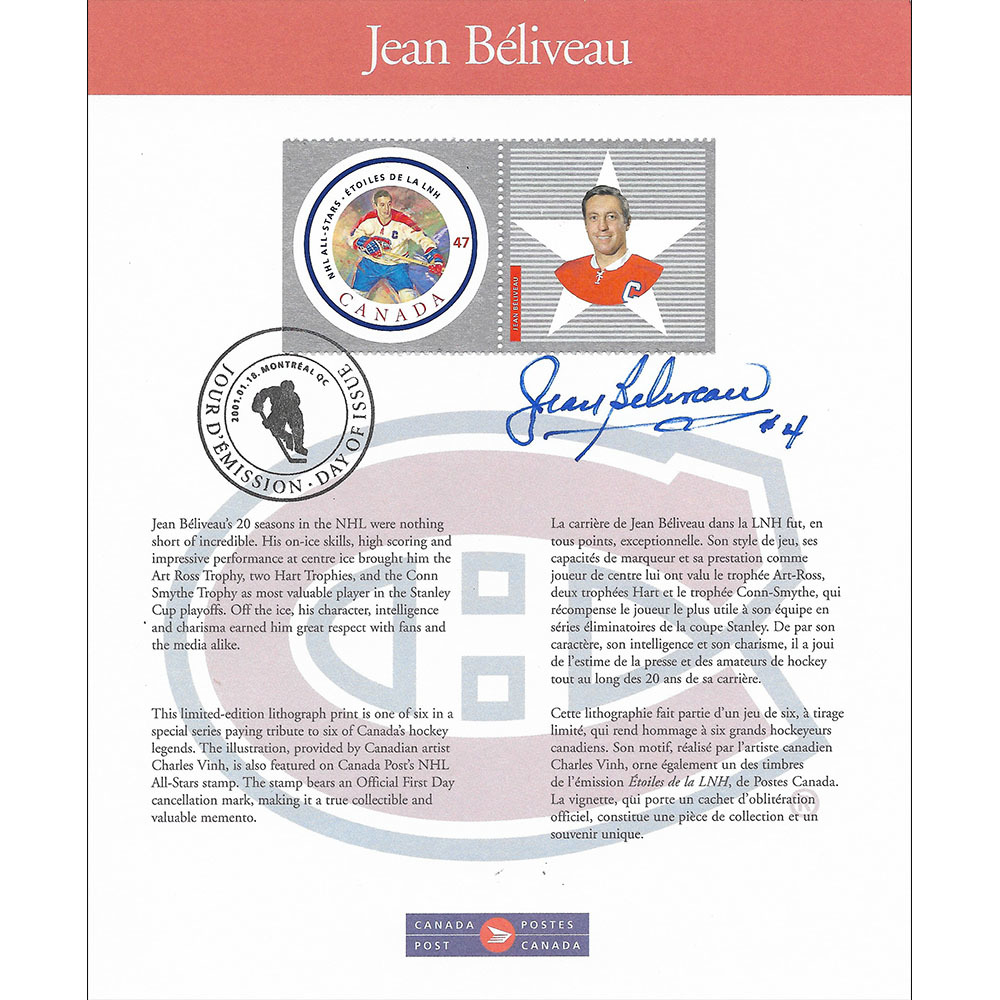 Jean Beliveau Autographed First Day of Issue Canada Post Stamp