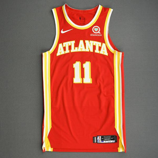 Image of Trae Young - Atlanta Hawks - Game-Worn Icon Edition Jersey - Scored Game-High 25 Points - 2020-21 NBA Season