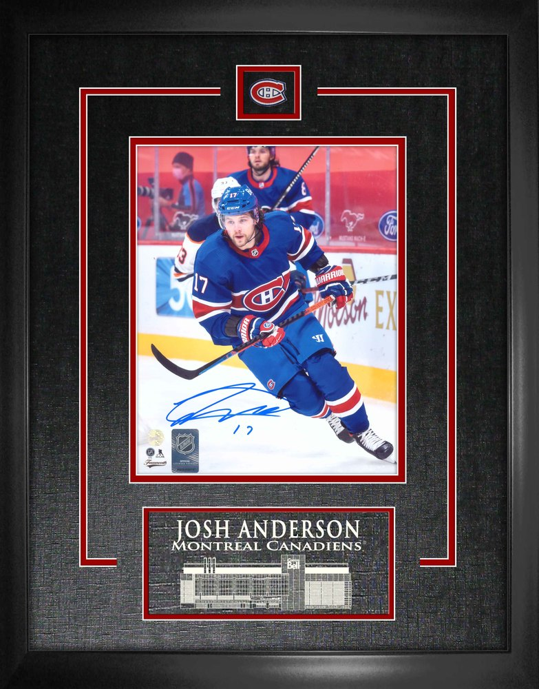 Josh Anderson Montreal Canadiens Signed Framed 8x10 Action Photo with Etched Mat