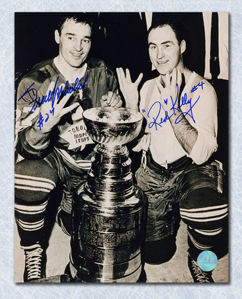 Frank Mahovlich & Red Kelly Toronto Maple Leafs Dual Signed Cup 8x10 Photo