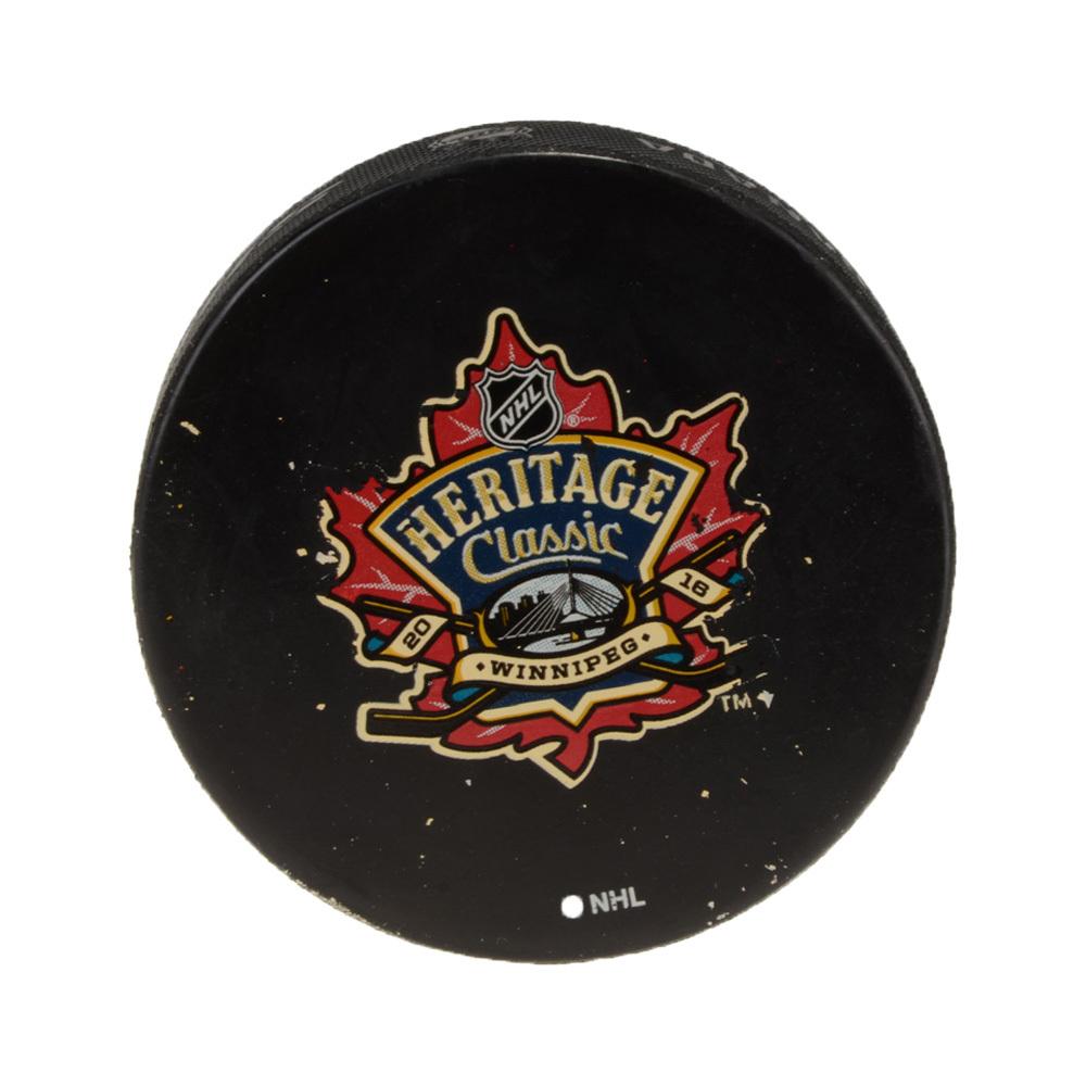 2016 Heritage Classic Edmonton Oilers vs. Winnipeg Jets Warm-Up Used Puck