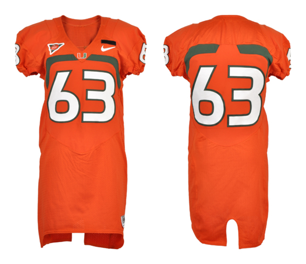 Miami Hurricanes Game-used #63 Orange Football Jersey