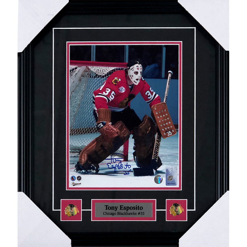 Tony Esposito Autographed Chicago Blackhawks Framed 8X10 Photo