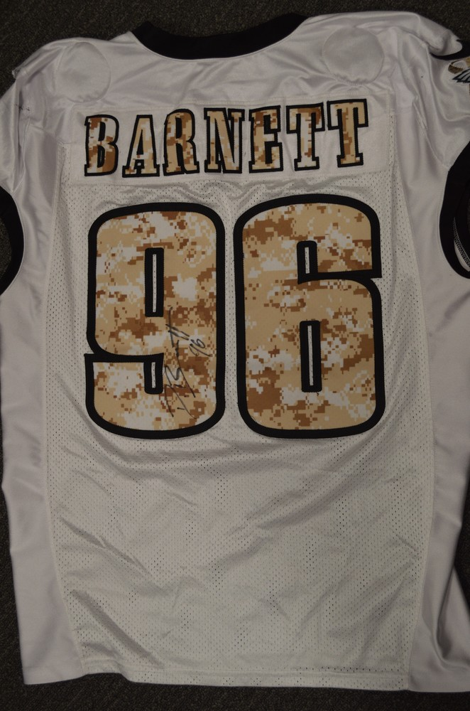 EAGLES - DEREK BARNETT SALUTE TO SERVICE SIGNED PRACTICE WORN JERSEY  NOVEMBER 2017 WITH CAMO NUMBERS eb1e9e5c2