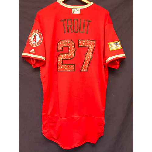 Photo of Mike Trout Game-Used 2018 Stars & Stripes Jersey