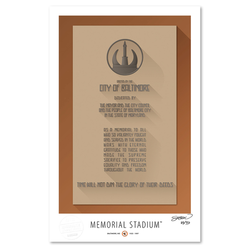 Photo of Memorial Stadium - Collector's Edition Minimalist Art Print by S. Preston #119/350  - Baltimore Orioles