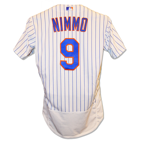 Photo of Brandon Nimmo #9 - Game Used White Pinstripe Jersey - 2-4, Hits First HR of 2019, 2 Runs Scored - Mets vs. Twins - 4/9/19