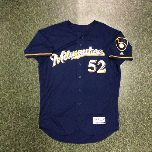 Photo of Jimmy Nelson 2018 Team-Issued Navy Ball & Glove Jersey