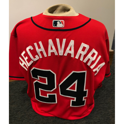 Photo of Adeiny Hechavarria Game-Used 2019 Atlanta Braves MLB Authenticated Los Bravos Day Jersey - Size 44