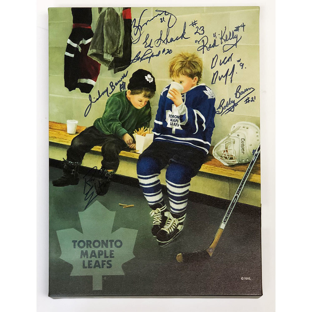 Toronto Maple Leafs Autographed 12X16 Canvas Display - Eight Legendary Signatures