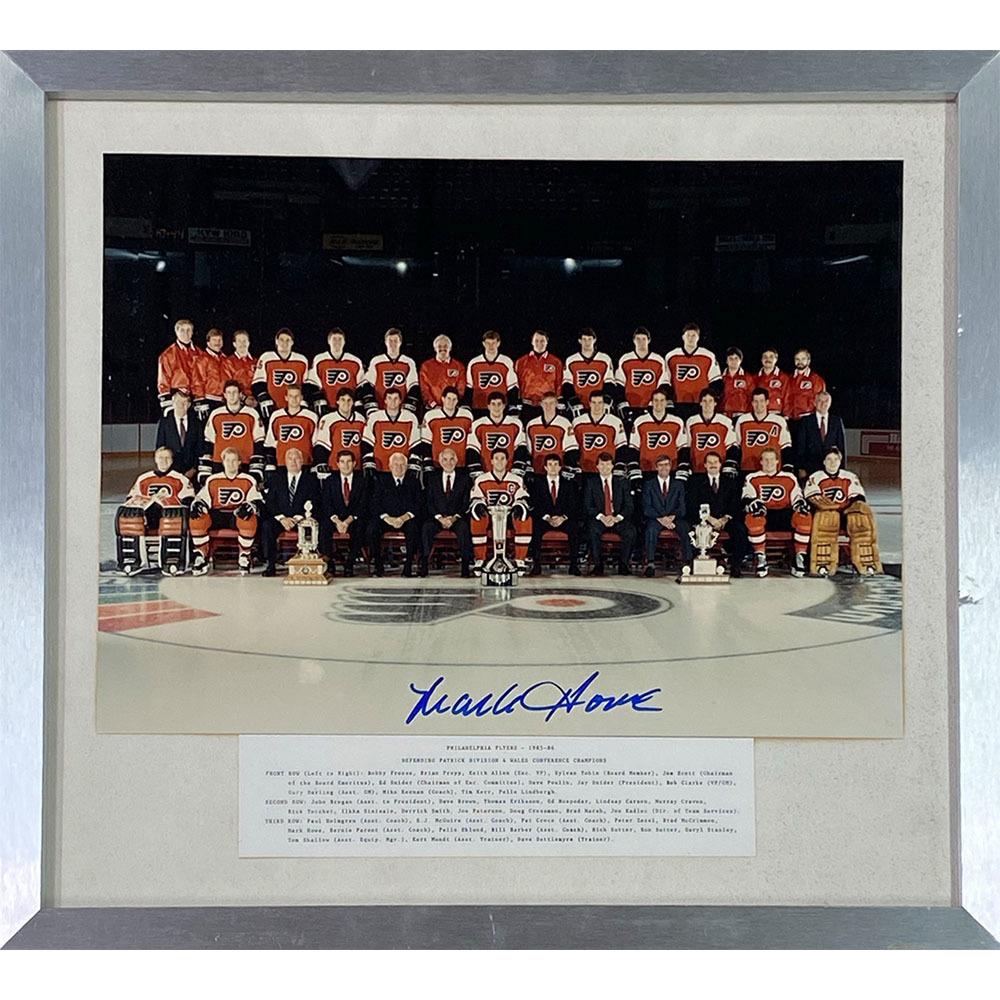 Mark Howe Autographed 1985-86 Philadelphia Flyers Framed 11X14 Team Photo