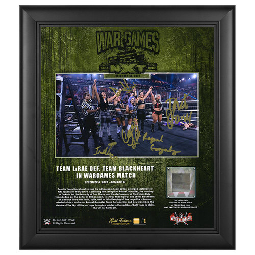 Photo of Team LeRae SIGNED WarGames 2020 WrestleMania Gold Edition Plaque (#1 of 1)