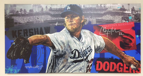 Kershaw's Challenge: Clayton Kershaw Autographed Canvas Print by Stephen Holland - HZ350304
