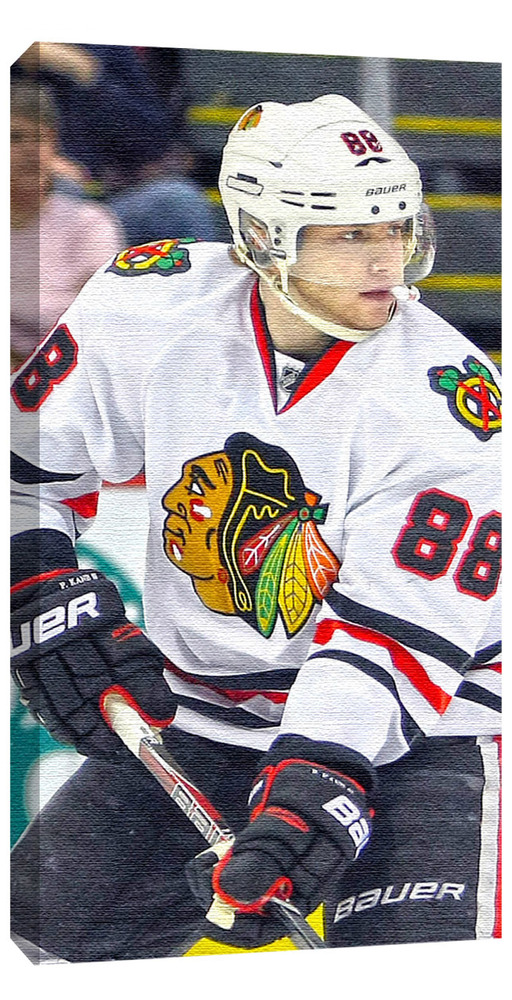 Kane,P Unsigned 14x28 Canvas Blackhawks White Jersey