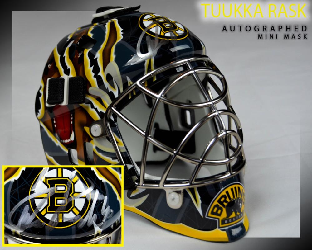 TUUKKA RASK Signed Boston Bruins Mini Helmet