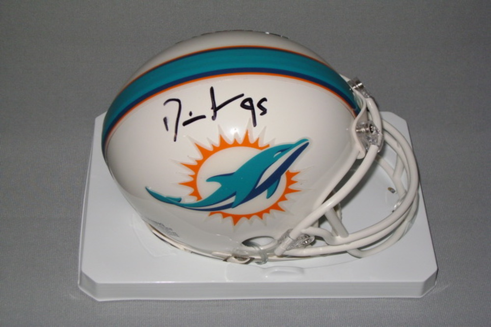 DOLPHINS - DION JORDAN SIGNED DOLPHINS MINI HELMET