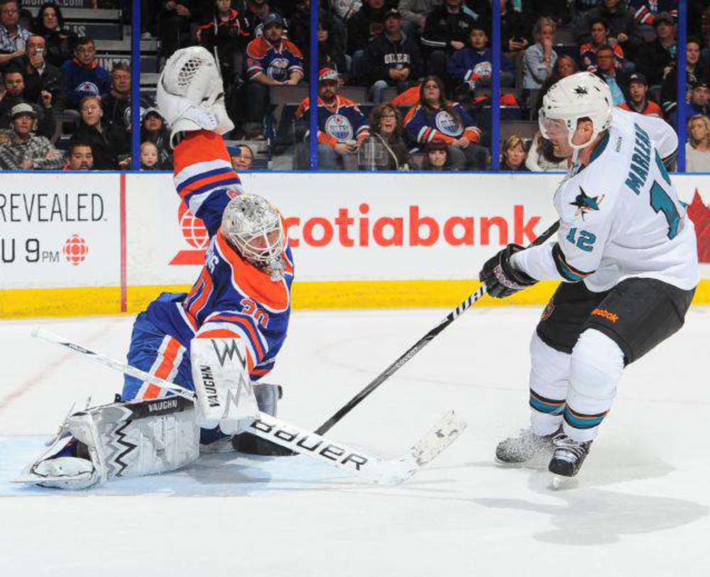Ben Scrivens #30 - Autographed Edmonton Oilers Game Worn Vaughn Goalie Trapper & Blocker Set Used During His 59 Save NHL Regular Season Shut-out Record Game Vs The San Jose Sharks