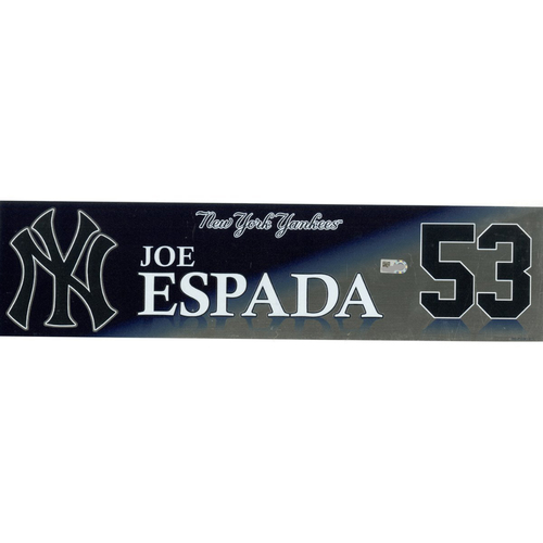 Photo of Joe Espada New York Yankees 2017 Game-Used #53 Locker Room Nameplate (10/1/2017)