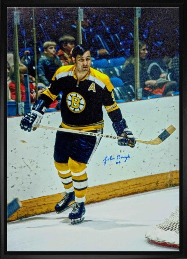 Johny Bucyk Signed 20x29 Canvas Framed Bruins Black-V Rounding Net
