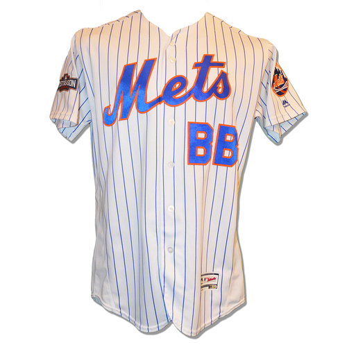 Game Used White Pinstripe Bat Boy Jersey - 2016 Wild Card Game - Mets vs. Giants - 10/5/16