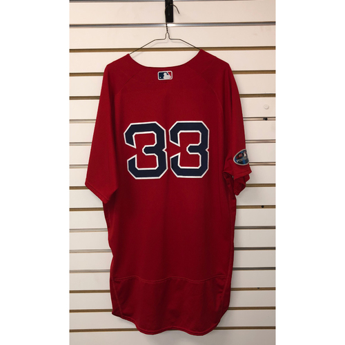 Photo of Jason Varitek Game-Used October 6, 2018 Home Alternate Jersey