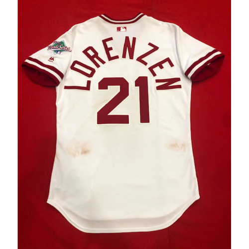 Photo of Michael Lorenzen -- Game-Used 1990 Throwback Jersey -- Cardinals vs. Reds on Aug. 18, 2019 -- Jersey Size 44