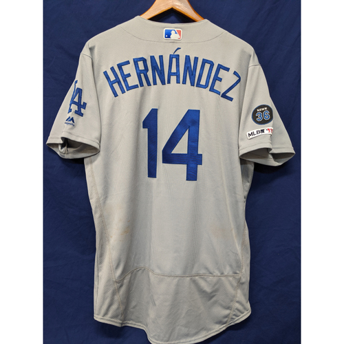 Photo of Los Angeles Dodgers Enrique Hernandez Game-Used Road Jersey - 4/19/19 - Pinch Hit HR