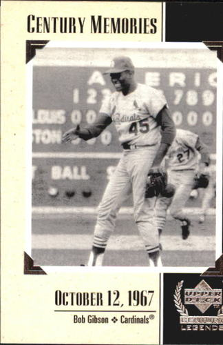 Photo of 1999 Upper Deck Century Legends #127 Bob Gibson MEM