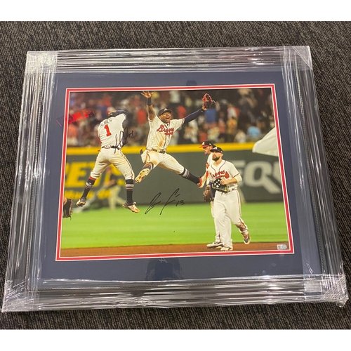 Photo of Ronald Acuna Jr. and Ozzie Albies MLB Authenticated Autographed Framed Photo