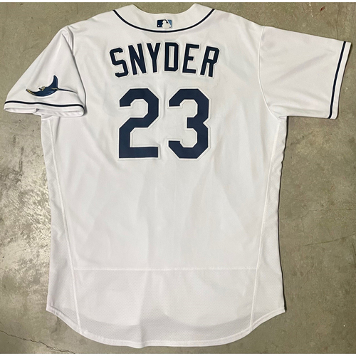 Photo of Game Used ALCS Game #7 White Jersey: Kyle Snyder - Game Played in San Diego - October 17, 2020 v HOU