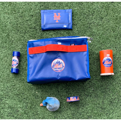 Photo of Game Used On Deck Circle Equipment Set - Final Home Game of 2021, Mets Win 12-3 - Set Includes Bag, Pine Tar Rag and Stick, Bat Weight, Weighted Donut and Rosin Bag - Mets vs. Marlins - 9/30/21