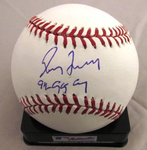"Photo of Greg Maddux Autographed ""92-95 Cy Young"" Baseball"