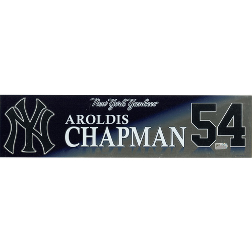 Photo of Aroldis Chapman New York Yankees 2017 Game-Used #54 Locker Room Nameplate (10/1/2017)