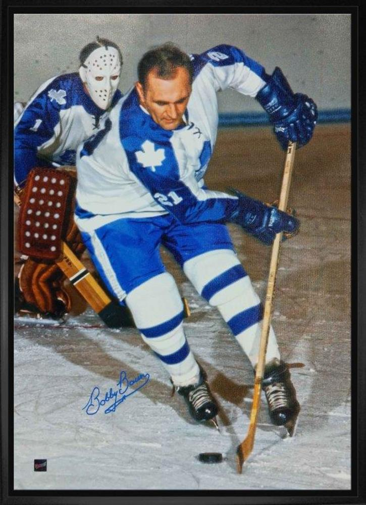Bobby Baun Signed 20x29 Canvas Framed - Leafs White Action Shot