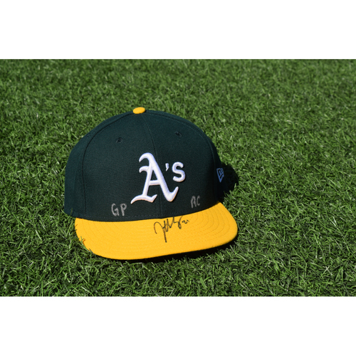 Photo of Oakland Athletics Game Used Autographed Jonathan Lucroy 50th Anniversary Cap