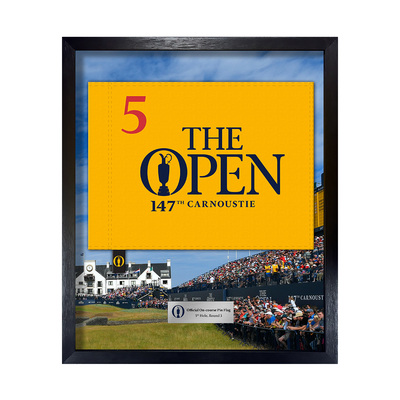 Photo of The 147th Open On-course Pin Flag, 5th Hole, Final Round Framed