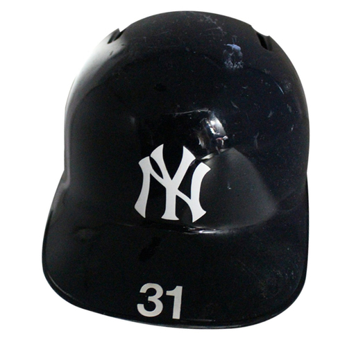 Photo of Aaron Hicks (Right Ear Flap) New York Yankees 2018 Game Used #31 Home Batting Helmet (9/22/2018, 10/3/2018, 10/9/2018)