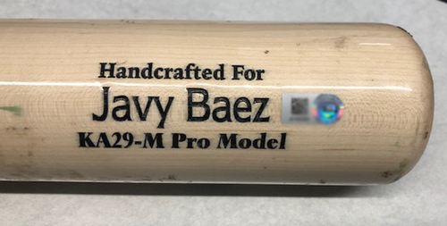 Photo of Javier Baez Game-Used Cracked Bat -- Burch Smith to Javier Baez, Ground Out, Bot 15 -- Brewers vs. Cubs -- 5/11/19