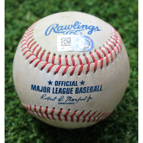 Photo of Game-Used Baseball: Andrew Miller 106th Career Double (CLE @ KC - 4/13/19)