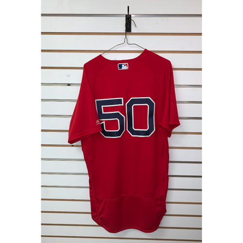 Photo of Mookie Betts Game Used May 25, 2018 Home Alternate Jersey - Home Run, 2 RBIs (17th Home Run of the season)